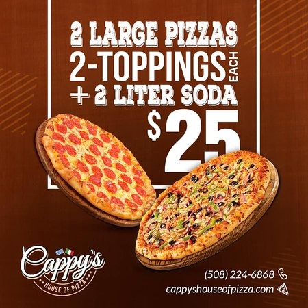 Friends Combo - 2 Large Pizzas with 2 toppings each and 2L of Soda per $25 plus tax.
