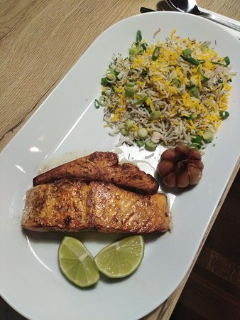 Sabzi polo mahi - salmon with herb rice