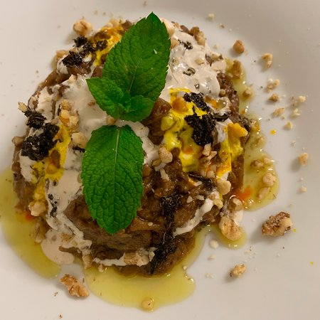 Kashk-e bademjan (aubergines with curd and walnuts)