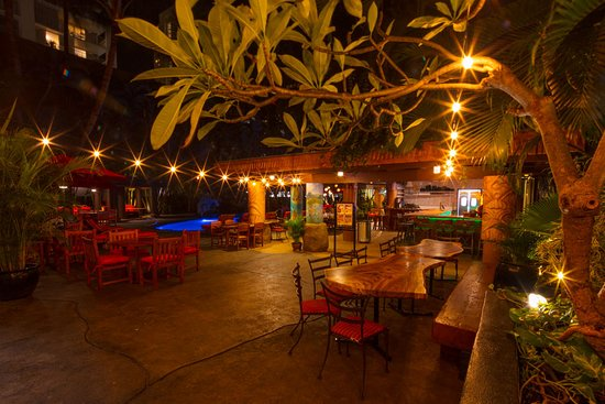 The warm glow of warm summer lights greet the weary traveler. Welcome to our outdoor oasis