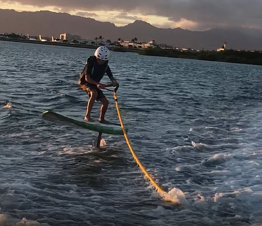 Mililani, HI: My 10 year old son up on the foil having a great time.