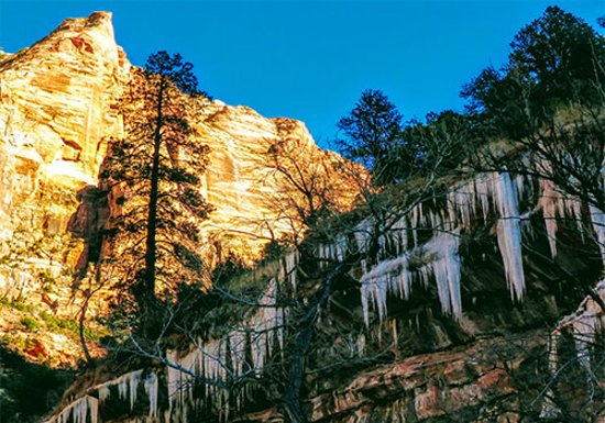 Rockville, UT: Nearby Zion Canyon, when springs turn to icicle curtains.