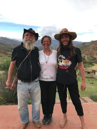 Shamanic Healing Retreats Amazon & Andes: Miguel, myself and Juan at Allkamari after the sun and moon dance!