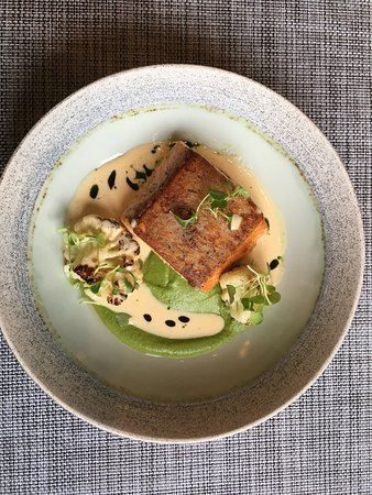 Salmon with pea puree