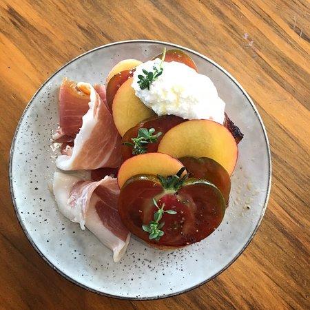 Tomato, Nectarine & Ricotta with Prosciutto