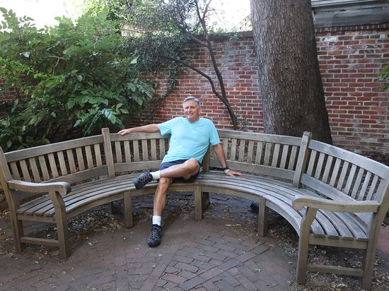 The author sitting down along Baden's Court