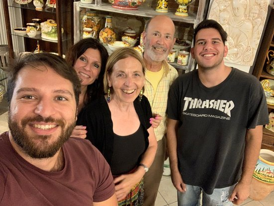 How to make handmade Tuscan Ceramic: a course with a master potter in Montelupo: The Mirenda family with Bob and Mary Louise Schecter