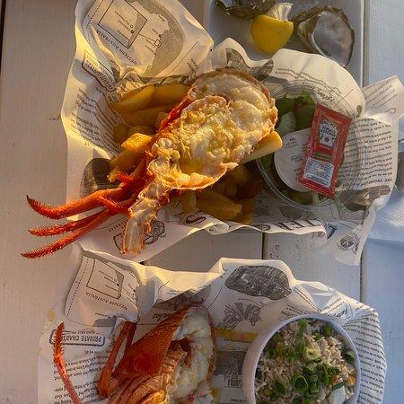 Lobster is pricey and rice taste bad.