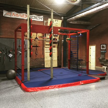 Adult Ninja Warrior station complete with Salmon Ladder and Flying Pull-up bar.  Plenty of challenge and lots of fun!