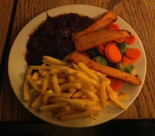 The Glenavon: Bland venison stew, frozen chips and parsnips and boiled veg