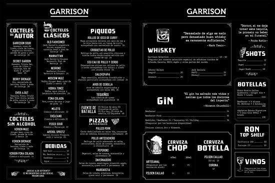 Garrison Bar and Beer Garden: Nuestra Carta