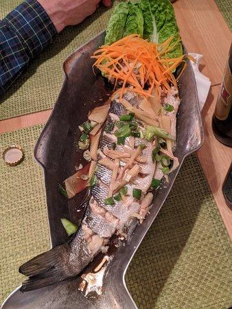Amazing steamed sea bass and papaya salad