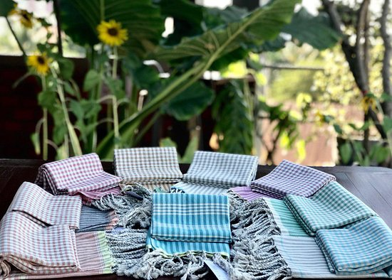 The high quality Krama (Khmer Traditional scarf) is weaving on our rooftop. Visit and talk to our weaver. Her new pastel color series are just stunning.