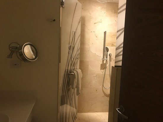 this is the 3 pc bathroom in the main living area.  rainfall shower up top.
