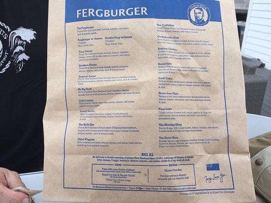 Fergburger menu