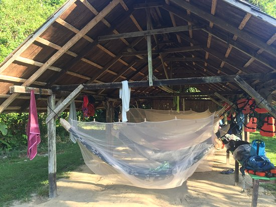 Sipaliwini District, Suriname: Hammocks to sleep in
