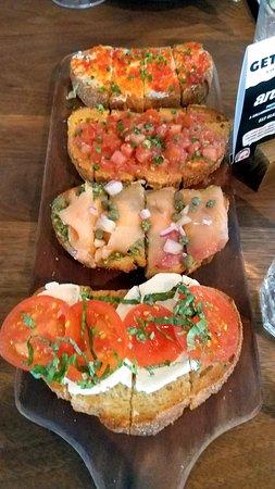 Bruschetta with Pesto Salami, Almond Hummus