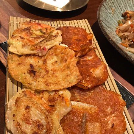 Onion and kimchi pancakes