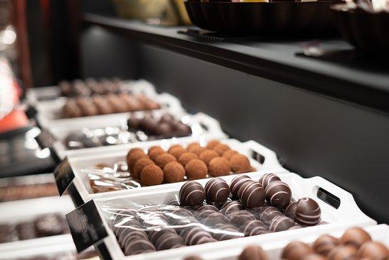 Truffles are our precious stones: strawberry, pistachio, gianduia, creme brulee, dark Sao Thome...