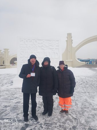 Harbin Private Tour Guide driver Mr. Zou with her guests at Sun Island 31 December 2019