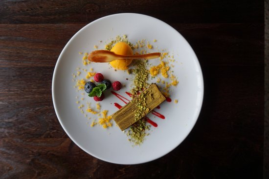 Dark Chocolate Pave, mango sorbet, toasted pistachio
