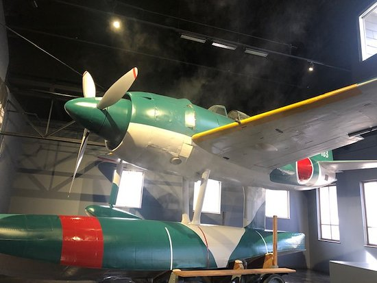 A Japanese hydroplane, up close and personal, is just one of many treasures this museum holds inside.