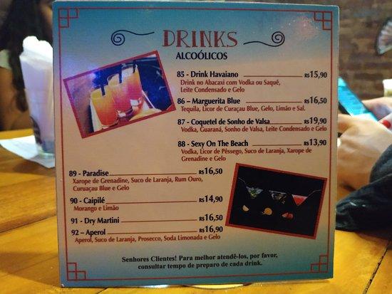 Cardápio de drinks
