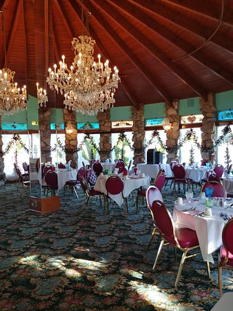 one of the many dining rooms
