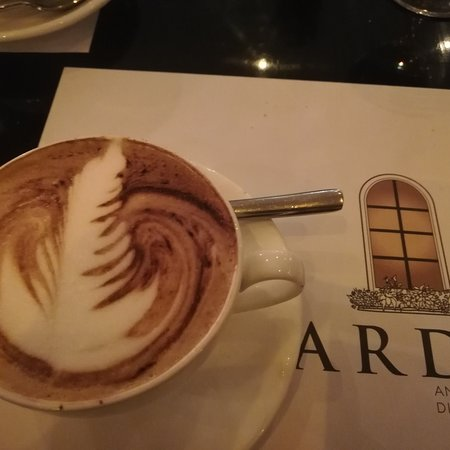 New year dinner with friends. Good food, very good designed latte