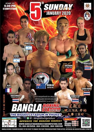*********************** Bangla Boxing Stadium reserves to the right to change the fight program without prior notice. Depending on uncontrollable situation: the accident of the fighter,etc. *********************** More Informatiom as below: Whatsapp :+66641283395 /+66640615050 Wechat : banglaboxing Line ID : banglaboxingstadium Call : +66 64 061 5050 / +66 64 128 3395 / +66 64 138 3130