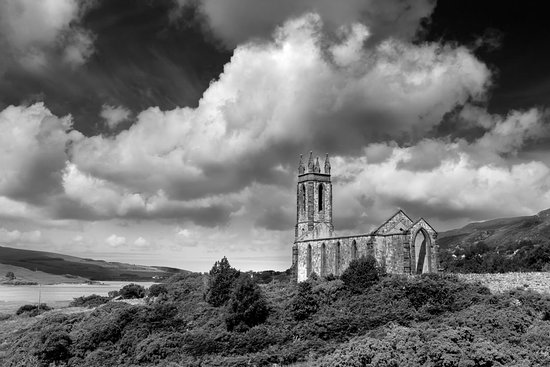 Driving through beautiful Donegal, Ireland, I had to stop and take some photos of the abandoned church in Dunlewey which sits in the shadow of Mount Errigal Summit.