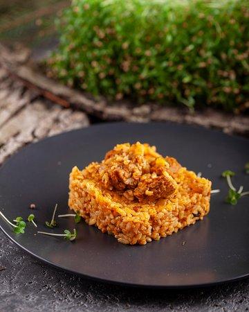 Плов узбекский с соевым мясом