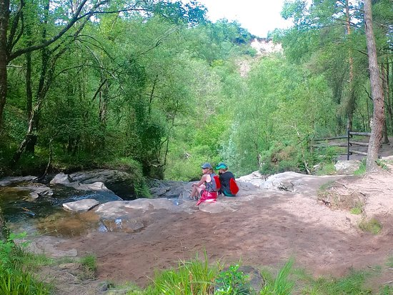 Hiking at Glenbarrow Falls.