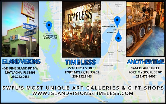 Matlacha, FL: Island Visions, Timeless & Another Time, SWFL's Most Unique art galleries & gift shops!