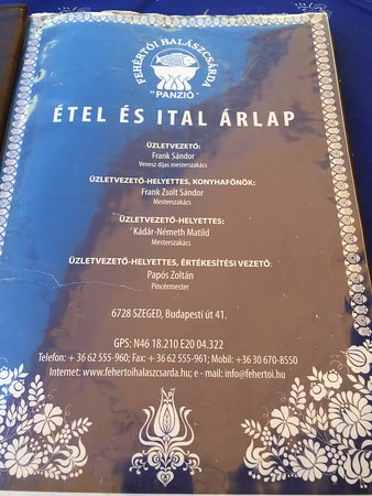 And the front page of the menu
