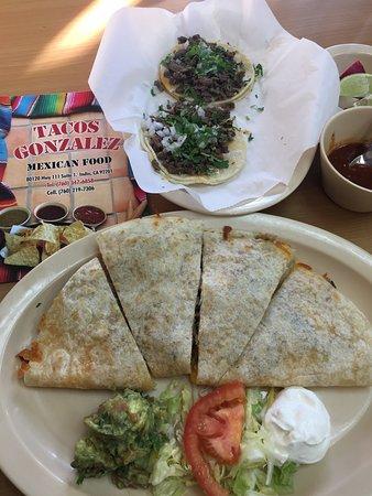 large quesadilla, small tacos