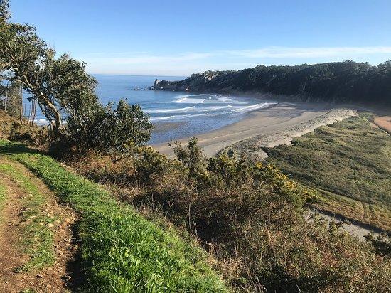 Corvera de Asturias, España: El acceso es un poco complicado, al menos en diciembre cuando estuvimos. La senda estaba completamente anegada y no se podía acceder y las escaleras terminan en el río, por lo que hay que cruzarlo para llegar a la playa. Es la desembocadura y no cubre mucho, por debajo de las rodillas