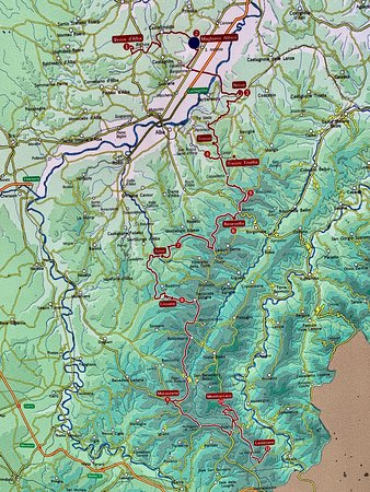 mappa della Strada Romantica delle Langhe e del Roero