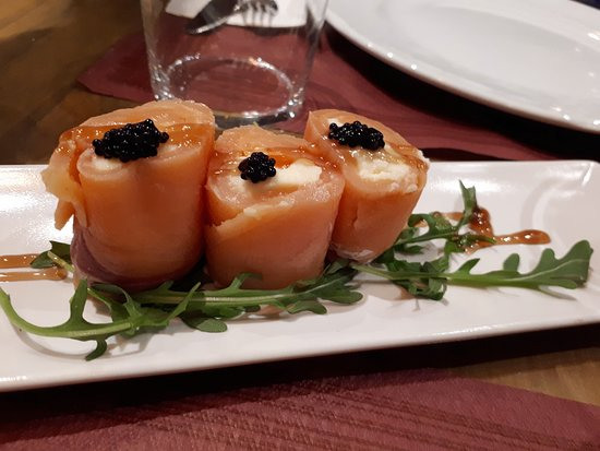 Roll of smoked salmon