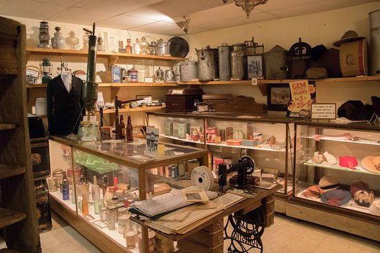 Sundance, WY: Wide shot of the general store display
