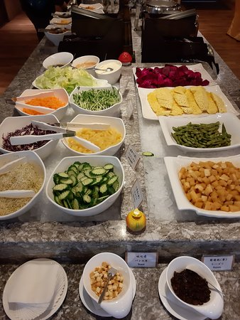 Fresh fruits and salad offered for breakfast
