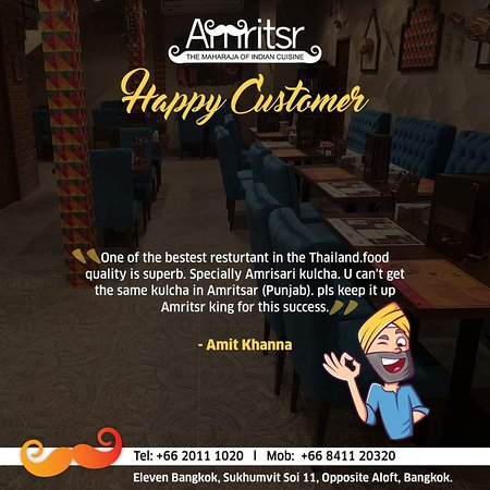 #HappyCustomerTestimonial!  Thank you for your lovely #Feedback, Mr. Amit Khanna We are glad you had a good time and liked our #Food & #Services.  #Amritsr #ElevenBangkok #Soi11 #SukhumvitSoi11 #NewBranch #NewOutlet #Bangkok #Thailand #BangkokThailand #HappyCustomer #Customer #HappyGuest #Testimonial #Appreciation #Happiness