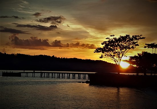 Beautiful Sunset from the Beach. Great fishing dock at the Hotel.