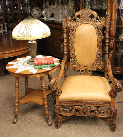 Carved American Oak Library Chair paired with a Handpainted Handel Lamp