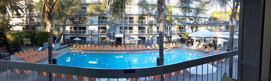 wide angle view from balcony of pool area.