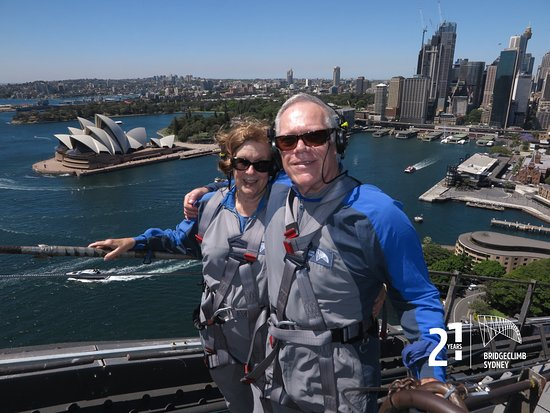 Sydney BridgeClimb: At the top of the Bridge, with the Opera House in the background.