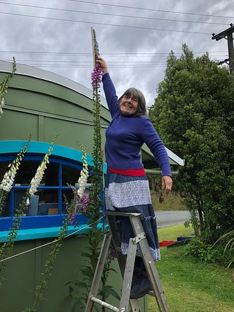 Ruth and her foxglove nearing its world record height.