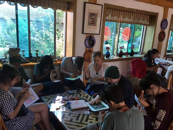 Learning to make Tibetan Embroidery.