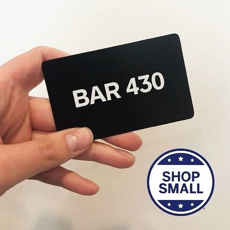 Purchase a gift card online at bar430.com or with one of our bartenders! Set to any amount at any time!