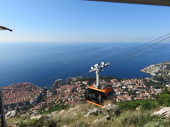 Cable Car near summit of Mount Srd